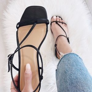 Black Square Toe Sandal